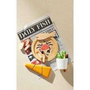 Anthropologie Wooden Child Play Food Toy Set New